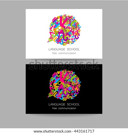 Concept business card design for Language School, translation, linguistic center, language teachers, international communication club. Vector.