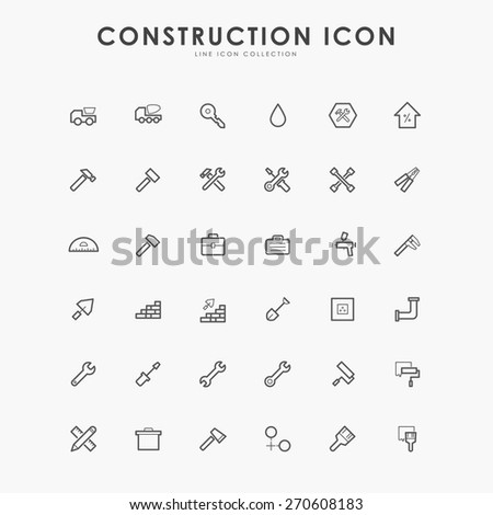 36 construction line icons