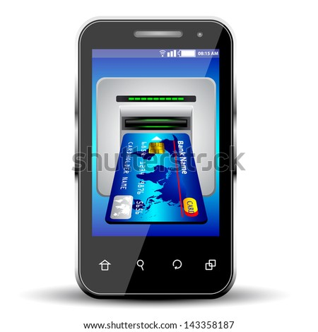 credit card with smartphone on white background.