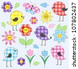 Cute birds and flowers. Vector set of textile stickers - stock vector