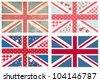 4 Cute British Flags in Shabby Chic floral and vintage style - stock photo