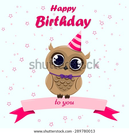 Cute Happy Birthday Card Owl Ribbon Vector 291269207 – Cute Happy Birthday Cards