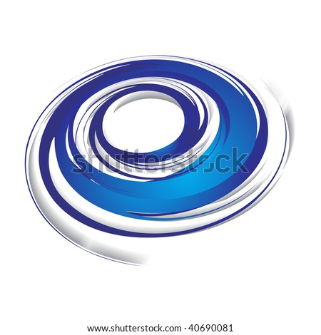 3d abstract blue swirl wave on a white background, vector illustration