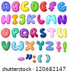 3d bubble shaped alphabet set - stock vector