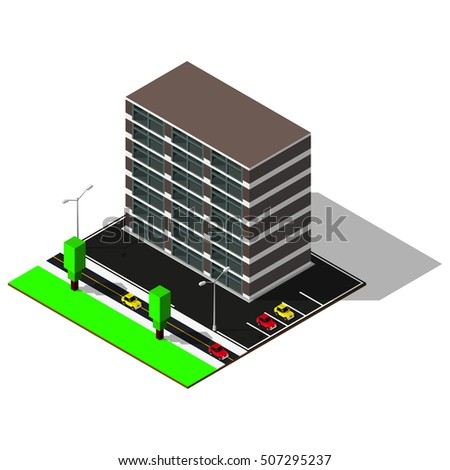 3d city map. Modern isometric house includes parking, roads, crossroad, trees, cars and street lamps. Isometric elements.