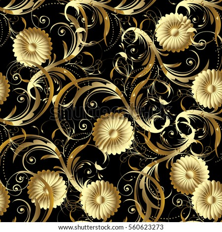 Paisley Floral Vector Seamless Pattern Background Stock