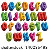 3d font, vector colorful letters, geometric dimensional alphabet made with round shapes, best for use in advertising and web design. - stock vector