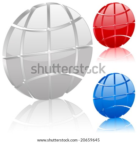 3D globe symbol set. Vector illustration.