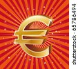 3d gold euro icon,winner background - stock vector
