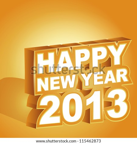 3D gold  vector , Happy new year 2013