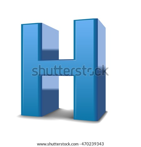 3D image blue letter H isolated on white background