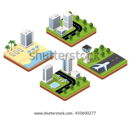 3D isometric icons travels with beach landscape with the hotel and the parasols, the airport terminal and a building with a swimming pool
