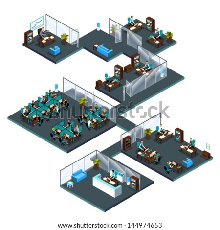 Isometric stock photos images pictures shutterstock - Signe different open office ...