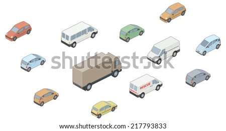 3D, Isometric selection of vehicles