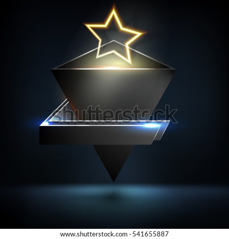 3D pyramid wireframe element with glowing neon lights. HUD element. Technology digital background. Vector illustration