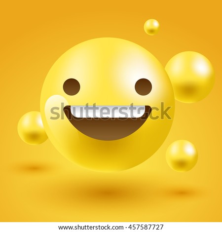 3d smiley emoticon layout template vector stock vector
