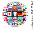3d sphere with world flags vector - stock vector