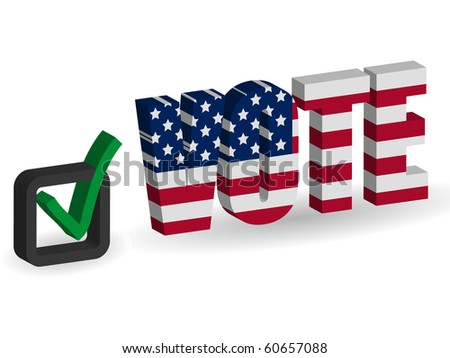 3d USA flag Vote with checkbox