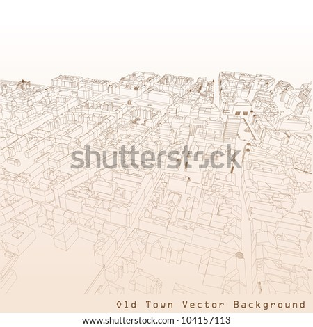 3D vector background of a European town.