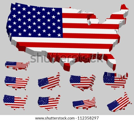 3d Vector Flag Map Of The Usa In Several Perspective United States Of America
