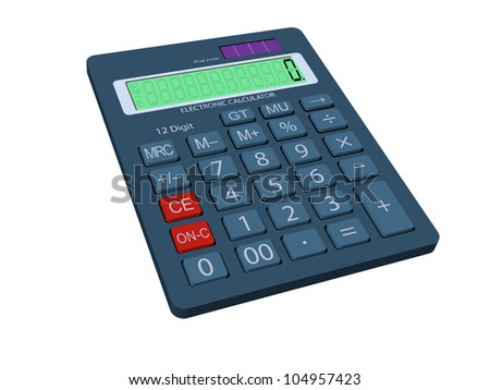 3D vector graphic of a calculator. Arranged layes structure, fully modifiable.