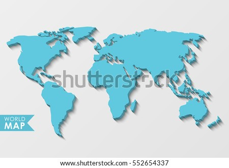 3d world map isolated on light stock vector 599594186 shutterstock 3d world map with a long shadow isolated on a light background sciox Image collections
