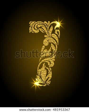 7. Decorative Font with swirls and floral elements. Ornate decorated digit seven with golden glitter