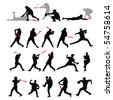21 detail baseball poses in silhouette - stock photo