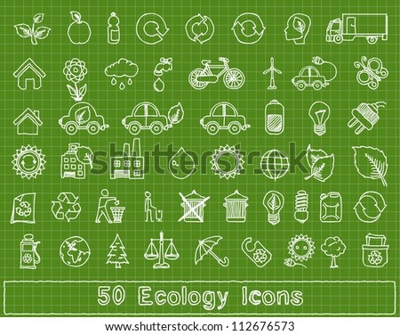 50 doodle ecology elements, vector set