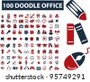 100 doodle office icons, vector - stock vector