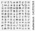 100 doodle web icons set - stock vector