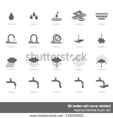 20 drop water rain wet save water related icon set on white background