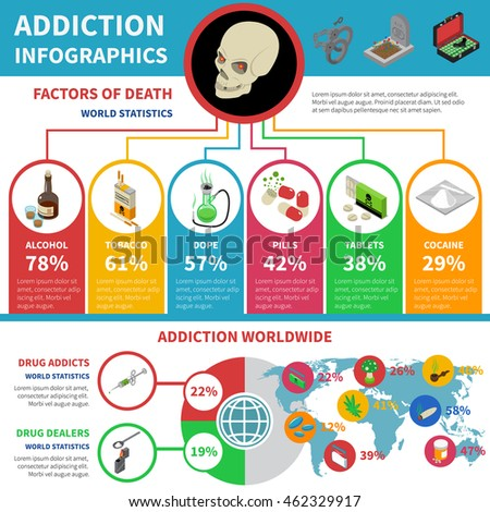 Drug addiction infographic set with percentage and world statistics ...