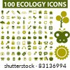100 ecology icons, signs, vector illustrations set - stock vector