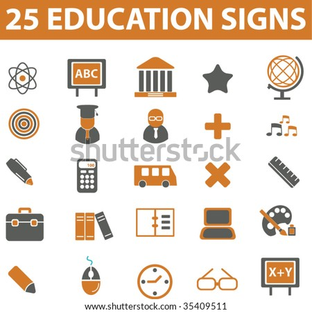 25 education signs. vector