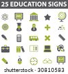 25 education signs. vector. green series. - stock photo
