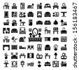 64 Elegant Vector Furniture Icons Set. - stock vector