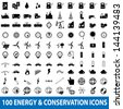 100 Energy Icons set - stock vector