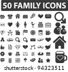 50 family icons set, vector - stock photo