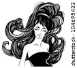 fashion beautiful woman with long curly hair. - stock vector