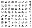 64 Fitness and Sport vector icons for web and mobile. All elements are grouped. - stock photo