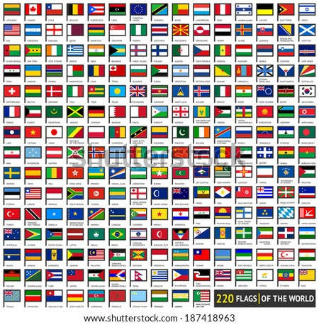 220 Flags of world, flat icons horizontal shapes set , vector illustration (april 2014)