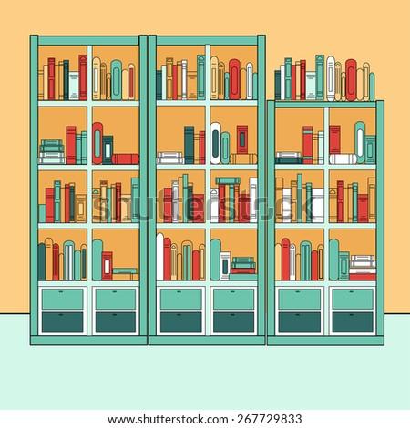 3d Rendered Bookshelves Books Decorations Stock