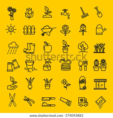 Flower and Gardening icons vector.