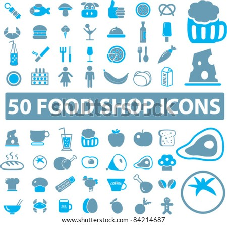 50 food shop icons, signs, vector illustrations