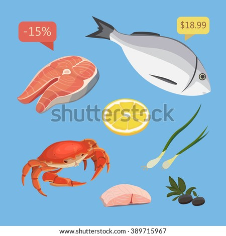 Vector seafood illustrations set flat fresh stock vector for Animals that are included in the cuisine of seafood