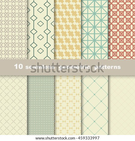 10 geometric seamless patterns in retro colors. Vector background