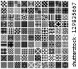 100 geometric seamless patterns set, black and white vector backgrounds collection. - stock photo