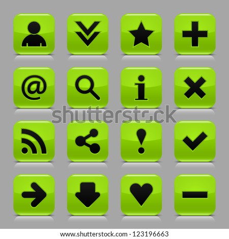 16 glossy green button with black basic sign. Rounded square internet web icon with black shadow and reflection on light gray background. Vector illustration clip-art design elements in 8 eps