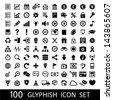 100 Glyph Icon Set - stock photo